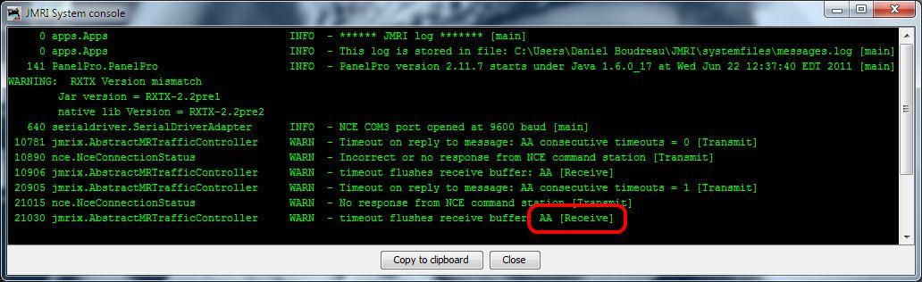 JMRI Console Loopback