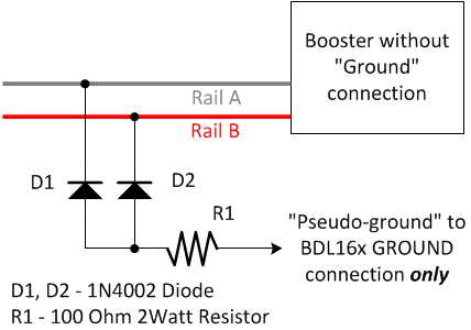 image showing circuit to generate a pseudo-ground from a command station  without a '