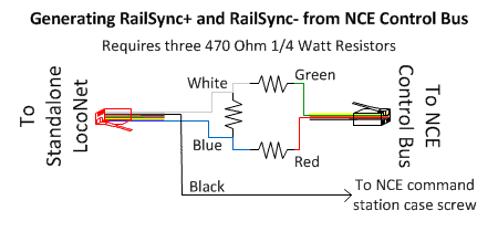 image showing circuit to create standalone loconet railsync from nce  control bus control+/-