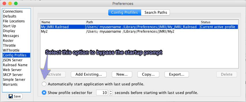 JMRI Setup - Configuration Profiles